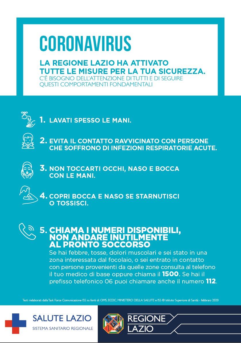 Coronavirus – Le misure di sicurezza della Regione Lazio